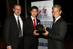 ALA-0001718 © WestPix Albany Finance Ltd's Peter Richards, 2016 Junior Sports Person of the Year Craig Wiggins and guest speaker Brant Garvey.  Picture: Laurie Benson Albany Advertiser