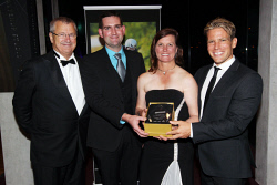 ALA-0001719 © WestPix City of Albany Mayor Dennis Wellington, sponsor Phil Stan-Bishop, 2016 Sports Person of the Year senior winner Sonja Johnson and guest speaker Brant Garvey. Picture: Laurie Benson Albany Advertiser