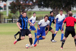 ALA-0001797 © WestPix Albany Bayswater's Cain Pietropaolo gets past Royals' Matias Alonso.  Picture: Laurie Benson Albany Advertiser