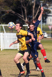 ALA-0002088 © WestPix Rovers' Tom McKenzie holds out Caledonians' Frazer Childs. Picture: Laurie Benson Albany Advertiser