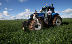 CTY-0003136 © WestPix Delighted with the big wet in Mingenew, Johel Mitchell and Martin Whitely in the sodden wheat crop. Picture by Sharon Smith The Countryman  18 July 2016