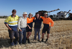 CTY-0003498 © WestPix The O'Driscoll family, of Northam, wrapped up their 2016 harvest program on the afternoon before widespread rain across the State. From left; Damian O'Driscoll, Tim O'Driscoll, Bailey O'Driscoll (13), Jaxon O'Driscoll (18) and Glen O'Driscoll. Picture: Justin Benson-Cooper