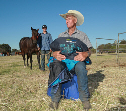 CTY-0003516 © WestPix Bob Neuman and his grandson Tom Gibbs set their sights on a winning season after taking out a wins at the Wellard Star of the West Campdraft. Picture: Bob Garnant
