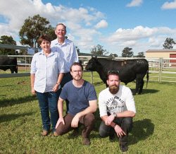 CTY-0003527 © WestPix Koojan Hills Angus stud co-principals Pam Smit and Lew Smit pictured with Lew's sons Pete Smit, who lives in Sydney and Adrian Smit , who works and lives in London. The Smit family hosted their final bull sale in which prices reached a record top-price of $25,500, with all 52 bulls sold to a record average price of $10,788. Picture: Bob Garnant