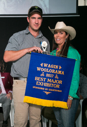 CTY-0003694 © WestPix Wagin Woolorama, Countryman display awards. Best major exhibitor. AFGRI precision farming specialist Damian Herbert accepts the award from Rodeo patron Jo Kestral. Pic Mogens Johansen, Countryman