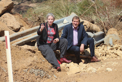 CTY-0003738 © WestPix Agriculture Minister Alannah MacTiernan and Agricultural Region MLC Darren West inspect the flood damage at Jerdacuttup River where the bridge washed away after the river overflowed.  Picture: Rueben Hale