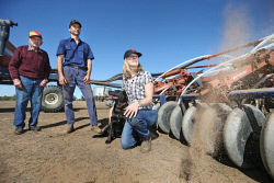 CTY-0003801 © WestPix Des O'Connell, with son-in-law Frank Chia and daughter Kerryn Chia, prepare for seeding on the family farm at Duranillin. The family only received 1mm of rain during April on the property. 28 APRIL 2017 Picture: Danella Bevis The West Australian