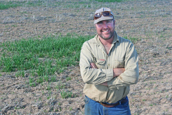 CTY-0003944 © WestPix Narembeen grower Brendan Hickey in his patchy crop. Picture: Cally Dupe