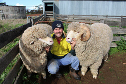 CTY-0004002 © WestPix Scott Crosby, of St Quentin stud at Nyabing, exhibited the winning Merino pair at the Australian Sheep and Wool Show in Bendigo last month. Picture: Rueben Hale Countryman.
