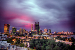 FEA-0007265 © WestPix Beautiful Perth after a storm with a nice pink setting.  Picture:Shaun Fearn