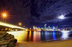 FEA-0007268 © WestPix Beautiful Perth night with a full moon. Picture: Shaun Fearn