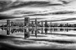 FEA-0007281 © WestPix Perth from South Perth in Black and White. Picture: Shaun Fearn