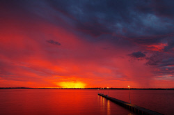 FEA-0007287 © WestPix Beautiful red sunset at Como jetty Perth WA. Picture: Shaun Fearn