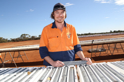 KGM-0026383 © WestPix Gold Road Resources geologist Shane Miller at the Gruyere core farm. Picture: Jarrod Lucas