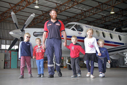 KGM-0026393 © WestPix Royal Flying Doctor Nurse Daniel Moore with his five children, Thomas 7, James 4, Jonathan 4, Emily 8 and Ethan 3. Picture: Mary Meagher.