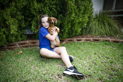 KGM-0029935 © WestPix Emily May, 10, holding Penny the Dachshund. Picture: Tegan Guthrie