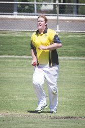 KGM-0030163 © WestPix Cricket at Sir Richard Moore Sports Centre, Hannans vs North Kalgoorlie, Hannans' bowler Bryce Lintern. (Picture: Louise White) 18th February 2017
