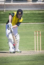 KGM-0030240 © WestPix Cricket at Sir Richard Moore Sports Centre, Hannans vs North Kalgoorlie, Hannans' Lindsay Pankhurst plays his 100th game with Hannans. (Picture: Louise White) 18th February 2017