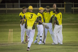 KGM-0030319 © WestPix T20 Cricket final, Hannans vs North Kalgoorlie, Hannans celebrate a wicket. (Picture: Louise White) 24th February 2017
