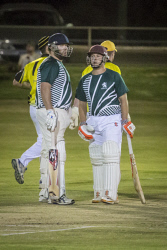 KGM-0030322 © WestPix T20 Cricket final, Hannans vs North Kalgoorlie, North Kalgoorlie's Chris Winn and Jay Collard. (Picture: Louise White) 24th February 2017
