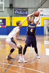 KGM-0031061 © WestPix Basketball, Goldfields Giants vs Joondalup Wolves, Giants' Daniel Goodluck and Wolves' Jordan Wellsteed. (Picture: Louise White) 25th March 2017