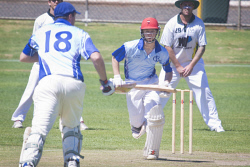 KGM-0031065 © WestPix Eastern Goldfields Cricket Association A-grade grand final at Sir Richard Moore Sports Centre, Great Boulder vs Lake View, Great Boulder's batsman Brendan Jones. (Picture: Louise White) 26th March 2017