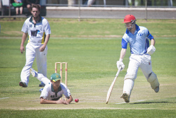 KGM-0031066 © WestPix Eastern Goldfields Cricket Association A-grade grand final at Sir Richard Moore Sports Centre, Great Boulder vs Lake View, Great Boulder's batsman Brendan Jones. (Picture: Louise White) 26th March 2017
