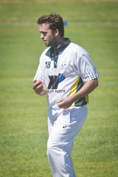 KGM-0031067 © WestPix Eastern Goldfields Cricket Association A-grade grand final at Sir Richard Moore Sports Centre, Great Boulder vs Lake View, Lake View's bowler Corey Johnston. (Picture: Louise White) 26th March 2017