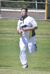 KGM-0031072 © WestPix Eastern Goldfields Cricket Association A-grade grand final at Sir Richard Moore Sports Centre, Great Boulder vs Lake View, Lake View's bowler Josh Harper. (Picture: Louise White) 26th March 2017