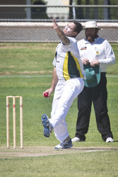 KGM-0031093 © WestPix Eastern Goldfields Cricket Association A-grade grand final at Sir Richard Moore Sports Centre, Great Boulder vs Lake View, Lake View's bowler Josh Harper. (Picture: Louise White) 26th March 2017