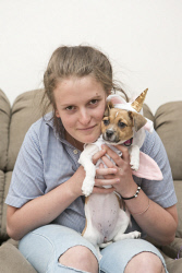 KGM-0031162 © WestPix My Pet, Michelle's daughter Megan Carinus with 13-week-old Bailey the Jack Russell cross Terrier. (Picture: Louise White) 4th April 2017