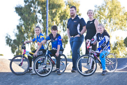 KGM-0031482 © WestPix Eastern Goldfields BMX Club state team grant recipients, Lara Scarvaci, 11, Josh Tickell, 11, City of Kalgoorlie-Boulder sports coordinator James Pervan, Executive manager of city living Holly Phillips and Lilly Trott, 9, (Picture: Louise White) 4th April 2017