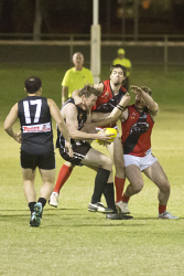 KGM-0031528 © WestPix Goldfields Football League, Kalgoorlie vs Railways at Sir Richard Moore Sports Centre, Kalgoorlie's Justin Hooper and Railways' Cody Chester and Stephen Western. (Picture: Louise White) 13th April 2017