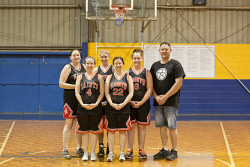 KGM-0031656 © WestPix Team Poster, Saints Division 2 Women's Basketball, Back: Paula Salmon, Elena Scafidi, Sarah Atkinson and coach Peter Rowling, Front: Courtney Fleeton and Bobbi-Jo Wise. (Picture: Louise White) 17th April 2017