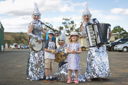 KGM-0031762 © WestPix KidsFest at Cruickshank Sports Arena, Zac Mickey, 6, and Evelyn Charles, 4, with The Sirens performing as Glimphs. (Picture: Louise White) 22nd April 2017