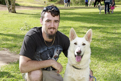 KGM-0032496 © WestPix Million Paws Walk.  Picture: Mary Meagher. Ethan Day and 'Merlot'.