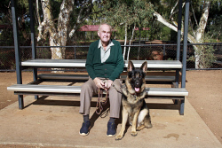 KGM-0032501 © WestPix Million Paws Walk.  Picture: Mary Meagher. Bob Law and 'Humphrey'.