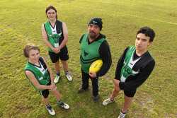 "KGM-0034556 © WestPix Mt Barker Bulls' under 15 coach Terry ""Choco"" Williams with players Seth Jones, Ashton Ballard and Kobi Williams.  Picture: Laurie Benson Albany Advertiser"