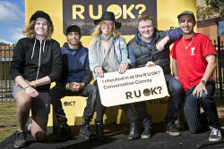 KGM-0034577 © WestPix RUOK? Conversation Convoy at Kingsbury Park, Mitchell Whiteley, 17, Kyle Lynch, 16, Ambassador Annalise Braakensiek, CEO Brendan Maher and Finn Hazelton-Hammond. (Picture: Louise White) 15th August 2017