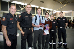 KGM-0034620 © WestPix Careers Expo.  Picture: Mary Meagher. Kalgoorlie fire fighters Martin Cable, Troy Dalla-Costa, John Paul College students Josh Osmetti 15 and Ethan Brunali 16 with firefighters Jason Boyd and Rob Andre.