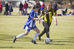 KGM-0034903 © WestPix Soccer, Kalgoorlie College vs Boulder, Kalgoorlie College's Brianna Ryan and Boulder's Taylah Darcy. (Picture: Louise White) 27th August 2017