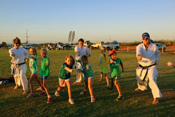 PIL-0003168 © WestPix Children learn karate moves at the Karratha Junior Community Sports Expo. Picture: Alicia Perera