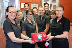 PIL-0003281 © WestPix St John Ambulance North West first aid trainer Cassie McIntyre, right, trains Karratha Veterinary Hospital vets and nurses in first aid for pet owners. Picture: Alicia Perera