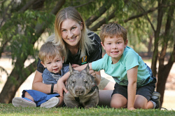 SUN-1401317 © WestPix This family-run wildlife sanctuary takes Aussie critters to meet people at care homes and schools. They're about to introduce two orphaned wombats into their cast of animals. West Oz Wildlife co-owner Beth Mullany with sons Harper (2) and Cooper (6) and Annie the wombat. Picture: Daniel Wilkins