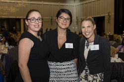 SUN-1401428 © WestPix Socials at the Business Chicks Breakfast with Magda Szubanski at Crown Ballroom in Burswood, Perth. (left to right) Linda Nelson, Chelsea Haven, Sarah Martin. 27 April 2017. Picture: Ross Swanborough.