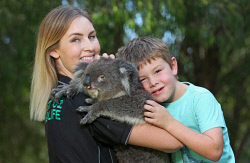 SUN-1402204 © WestPix This family-run wildlife sanctuary takes Aussie critters to meet people at care homes and schools. They're about to introduce two orphaned wombats into their cast of animals. West Oz Wildlife co-owner Beth Mullany with son Cooper (6) and Kiera the koala. Picture: Daniel Wilkins