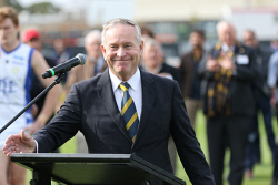 SUN-1402404 © WestPix WAFL Round 12 Claremont vs East Fremantle at Claremont Ovall, 10 June, 2017. Former Premier Colin Barnett after making a speech at the opening ceremony at Claremont Oval. Photo: Trevor Collens