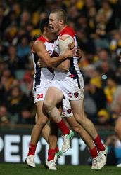SUN-1402432 © WestPix AFL. Round 14 AFL game between the West Coast Eagles and Melbourne Demons at Subiaco Oval. Pictured - Demon Tom McDonald celebrates after scoring the deciding goal. Picture - Justin Benson-Cooper. The Sunday Times