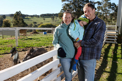 SUN-1402552 © WestPix The Sunday Times is looking at the growing and important rural industry of farm stays.  Pictured is Amy and Brent Doherty with Jessica (3). Picture - Justin Benson-Cooper. The Sunday Times