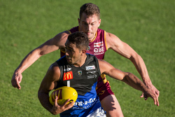 SUN-1402634 © WestPix Malcolm Karpany of the Royals evades Kyal Horsley of the Lions during the WAFL match between Subiaco and East Perth at Leederville Oval on Saturday 17th June 2017 Picture: Will Russell The Sunday Times
